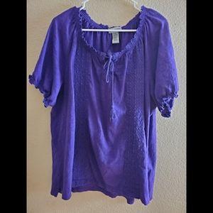 Catherines 1X Purple Lace Boho Tunic Blouse